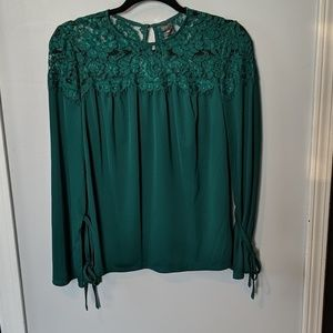 NWOT Green lacy blouse PM so cute
